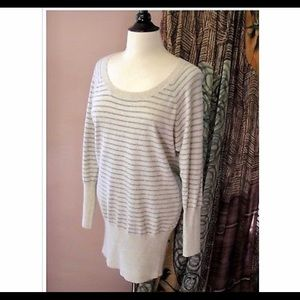 Real cashmere striped long tunic sweater small-m